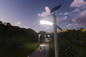 עמוד תאורה סולארי - לילה