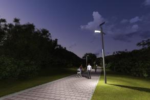 עמוד תאורת רחוב - לילה