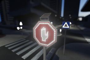 תמרור עצור מואר בתאורת לד